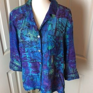 Chico's blue green blouse